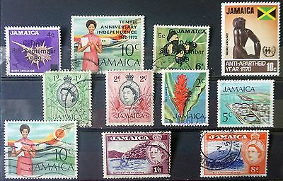 JAMAICA  GREAT LOT of 11 different used Stamps including 3 OVERPRINTS  Lot #3