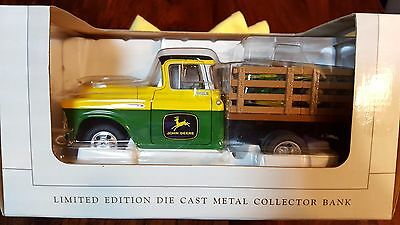Limited Edition 1957 John Deere Chevy Stakebed Truck W/ Lawn Mower Die Cast Bank