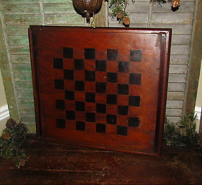 Primitive 1800s Antique Vtg CARVED & INLAID WOOD CHECKERS GAME BOARD Gameboard
