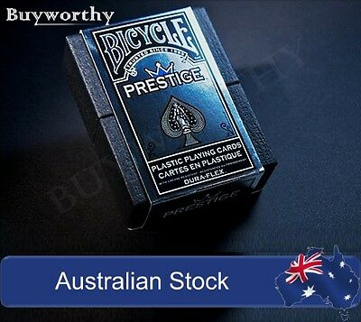 Prestige Playing Cards Bicycle Poker Deck Blue Edition 100% Plastic with Case