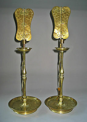A Pair of Fine Korean Rare and Fine Brass Candle Sticks (Holders)-19th C.: