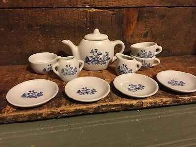 Vintage 10 Piece Toy Play China Tea Set Blue Willow Teapot Creamer Sugar Cups