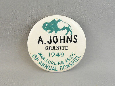 """A. Johns Granite 61St. Annual Bonspiel 1949 Manitoba Curling Assoc.1 3/4"""" Button"""