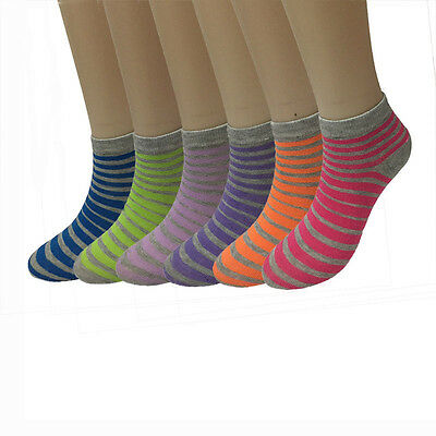 New Lot 6 12 Pairs Striped Fashion Womens Low Cut Ankle Socks Cotton Size 9-11