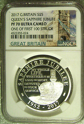 2017 Great Britain £5 Queen's Sapphire Jubilee Silver Proof  NGC PF 70   Pop 75