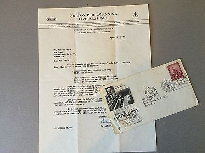 1958 Fdc United Nations With Letter