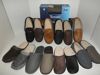 NWT Mens ISOTONER Gel Infused Memory Foam Slippers Bedroom Shoes M,  L, XL, XXL