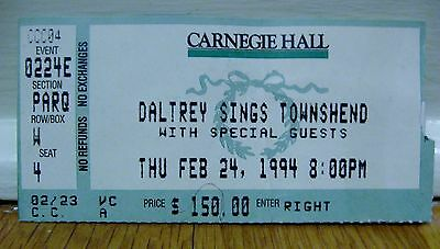 Daltrey Sings Townshend (with special guests) / 1994 / Carnegie Hall / Very Rare