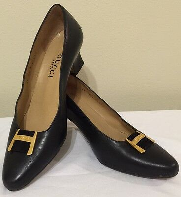 Vintage Gucci Ladies Leather Shoes Size 5.5 Chic Authentic Classic Retro Glam