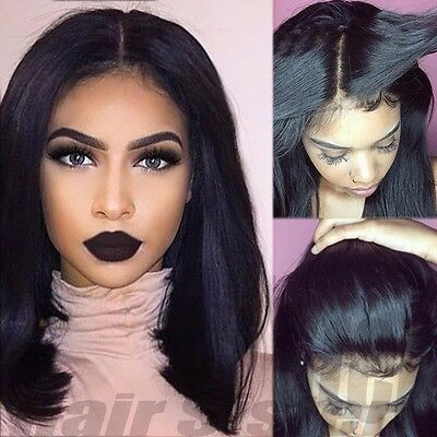 100% Brazilian Full Lace Human Hair Wig Glueless Silk Straight Lace Front Wigs #