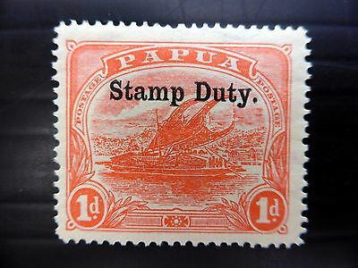 PAPUA 1912 - 1d Stamp Duty Mounted Mint SGF1 FP9430