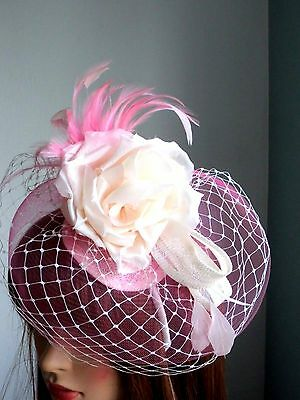 Pink and ivory  fascinator and feathers  on headband