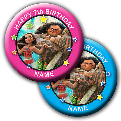 PERSONALISED MOANA BIRTHDAY BADGES/FRIDGE MAGNET/MIRRORS - 58MM or 77MM