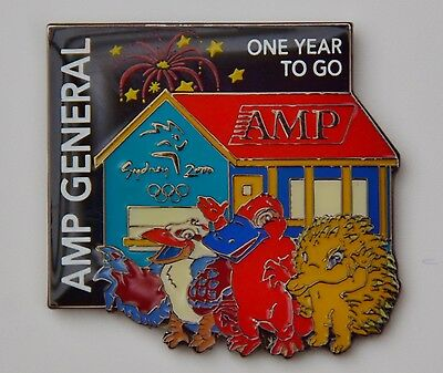 """2000 Olympic Pin unique AMP """"One Year to Go"""""""