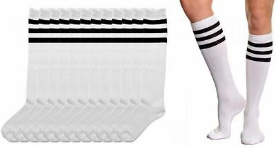 6 Pairs Angelina Referee Knee High Socks White With Black Stripes #2539Bsw 9-11