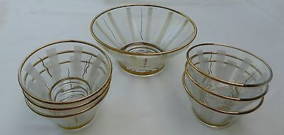 Retro / vintage glass 7 piece dessert / fruit / salad bowl set