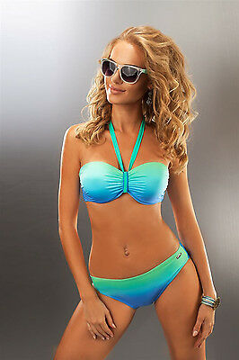 Bikini-Set Push-Up Beachwear Strandmode blau grün Ombre Gr S,M,L,XL