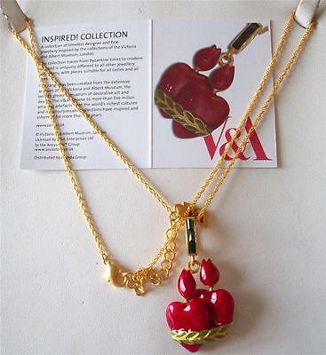 Sale ** V&a The Victoria & Albert Museum, Flaming Heart Enamel Necklace Rrp £48