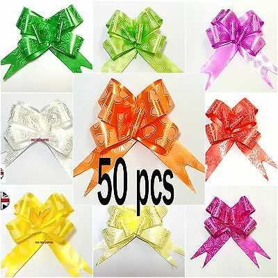 50 Pull Bow Decorations Large Wedding Car Xmas Gift Wrap Floristry 10 Colours