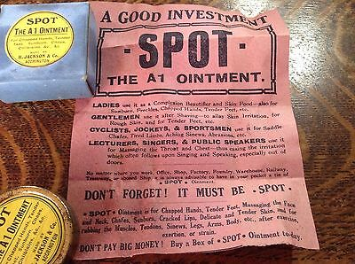 Vintage Ointment Tin Boxed/Leaflet 'Spot' The A1 Ointment H Jackson & Co. Accrin