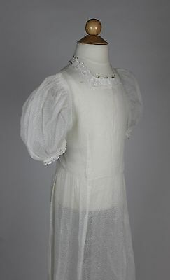 Antique Dress Antique Girls Dress in White Cotton with Embroidery c. 1910