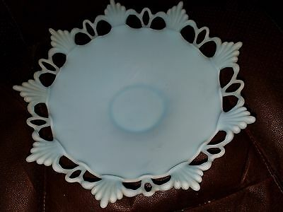 Vintage Westmoreland Peacock Blue Ring & Petal Footed Centerpiece Bowl