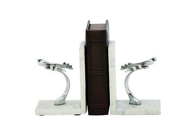 Cole & Grey Aluminum Marble Book Ends Set of 2