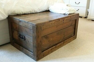 Antique Victorian Blanket CHEST, Old Wooden TRUNK, Coffee TABLE Vintage BOX