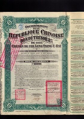CHINA Chinese Government 1921 Lung Tsing U Hai LTUH 500FR with dividend coupons