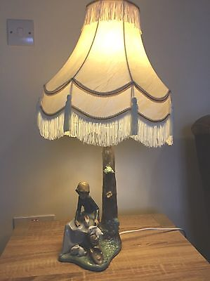 Genuine Nao By Lladro Lamp Collectable Lady With Bunnies Rabbits Tree