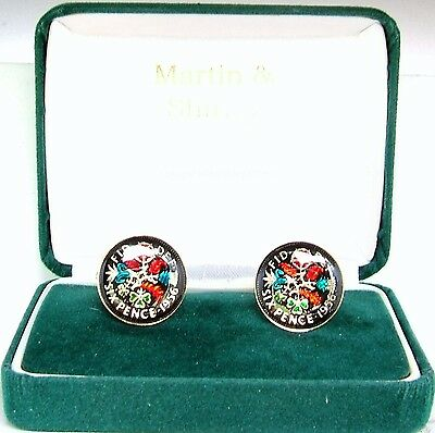1956 Sixpence cufflinks from real coins in Black & Colours & Gold