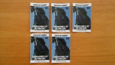 Grenadines of St Vincent Stamps - $8 Statue of Liberty Centenary 1986 x5 Unused