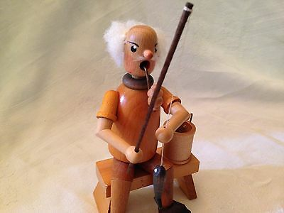 Vintage Wooden Fisherman Figurine Fishing From A Wooden Bench Smoking His Pipe!!