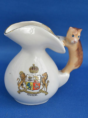 Rare Gemma Crested China Jug Douglas Isle of Man with Manx Cat Handle