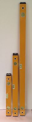 Brand new sealed 3 PIECE BUILDERS SPIRIT LEVEL SET - 400, 600 & 1000mm hook wall