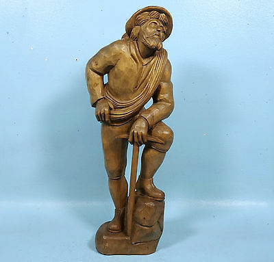 """19"""" Black Forest Wood Carving Sculpture Mtn Climber Ice Axe Signed Berchtesgade"""