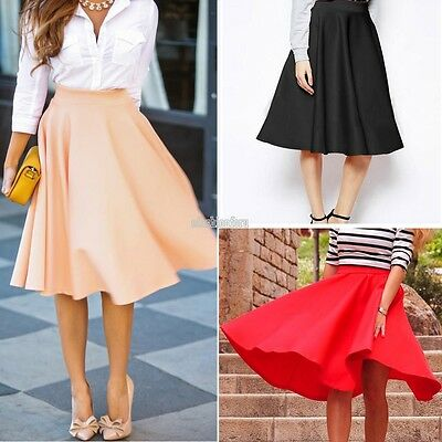 Vintage Women High Waist Pleated Stretch Party Flared Skater A Line Skirt Dress