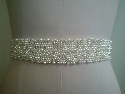 Wedding Belt, Bridal Sash Belt -  LIGHT IVORY PEARL SASH BELT