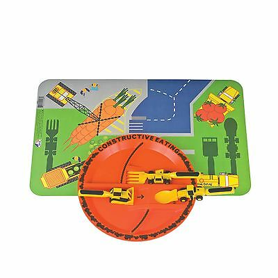 Constructive Eating - Construction Combo with Utensil Set Plate and Place... NEW