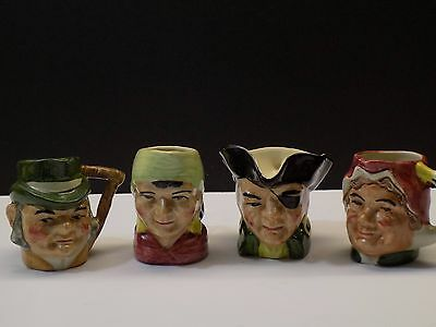 """Vintage DICKENS CHARACTERS Miniature 2"""" Toby Mugs Staffordshire England"""