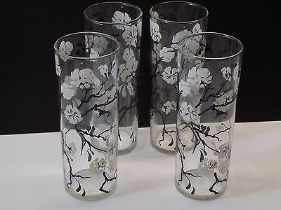 """Vintage 1950's DOGWOOD PATTERN 6"""" Tall Tom Collins Zombie Cocktail Glasses"""