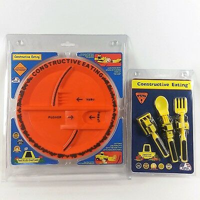 Constructive Eating Construction Plate and 3 Piece Utensil Set for Kids