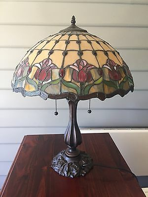 Large Tiffany Floral Stained Glass Handcrafted Table Lamp