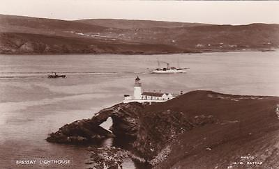 RP BRESSAY LIGHTHOUSE SHETLAND RATTAR SCOTTISH ISLES  REAL PHOTO c1935