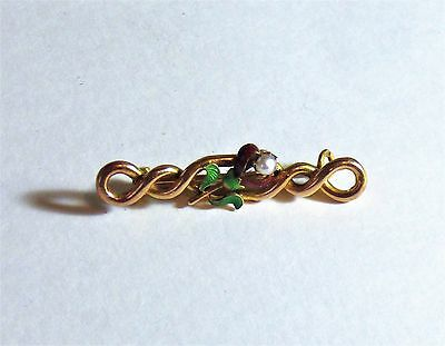 Vintage 15ct Yellow Gold Brooch with Enamel/Seed Pearl Decoration.  2.8g