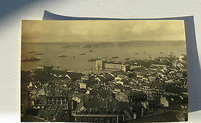 Postcard: Possibly Portugal. Lisbon,Warships & others real Photo Sepia Unused jh