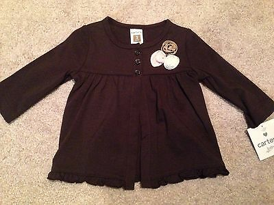 New Carter's Baby/Infant Girl Size 3 Months Brown/3 Fabric Flowers