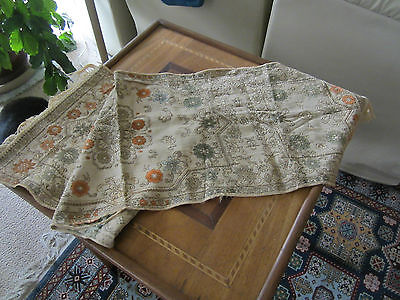 ANTIQUE WOVEN COTTON TAPESTRY BROCADE DRESSER SCARF. 1800's LOVELY BOTH SIDES.