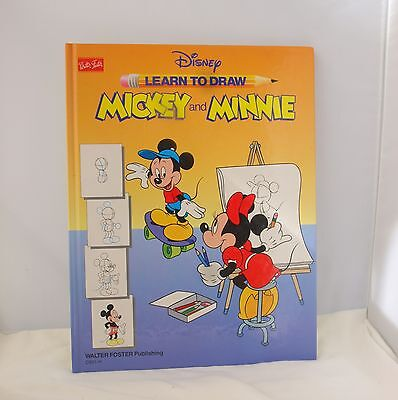 Disney LEARN to DRAW Mickey and Minnie Mouse Large Hardcover Book 1991 Vintage