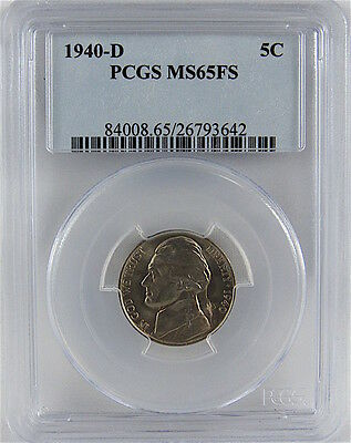 1940-D Jefferson Nickel Pcgs Ms65Fs Full Steps